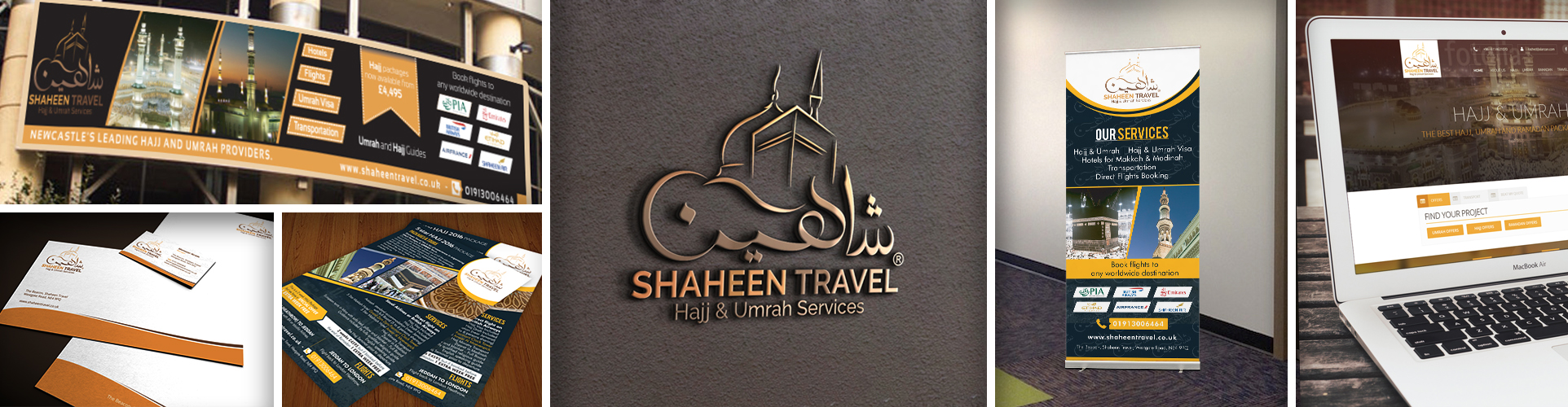 Shaheen Travel Logo Design, Web Development & Branding Collage